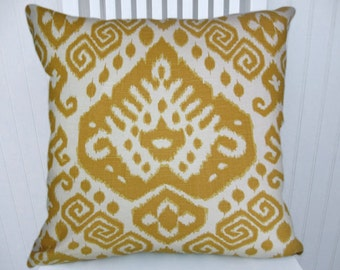 Marigold  Ikat  Pillow Cover-- NEW!!  Decorative Throw Pillow 18x18 or 20x20 or 22x22,  Accent Pillow