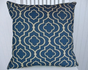 Blue and White Geometric -Decorative Pillow Cover--18x18 or 20x20 or 22x22- Accent Pillow