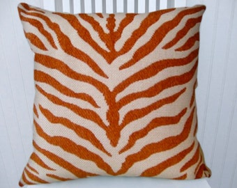 "Orange Zebra Stripe Pillow Cover, Chenille Decorative Pillow  16"" 18""  20""  22"" -- Duralee, Throw Pillow-- Accent Pillow."