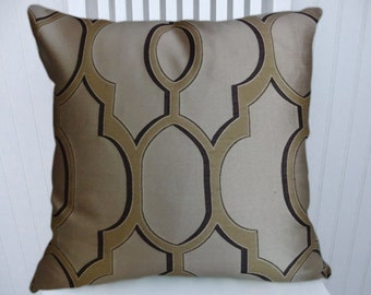 Brown and Cream Pillow Cover--Geometric 18x18 or 20x20 or 22x22 Throw Pillow-- Accent Pillow