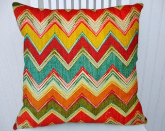 Multi Colored Decorative Zig Zig Pillow Cover--18x18 or 20x20 or 22x22-Throw Pillow- Zig Zag Accent Pillow