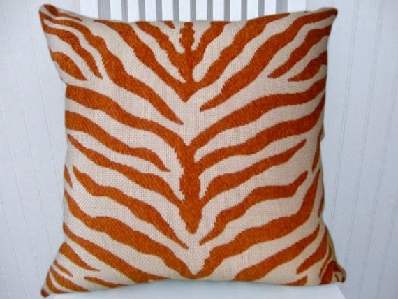 "Orange Zebra Stripe Pillow Cover, Chenille Decorative Pillow  16"" 18""  20""  22"" -- Duralee, Throw Pillow-- Accent Pillow."