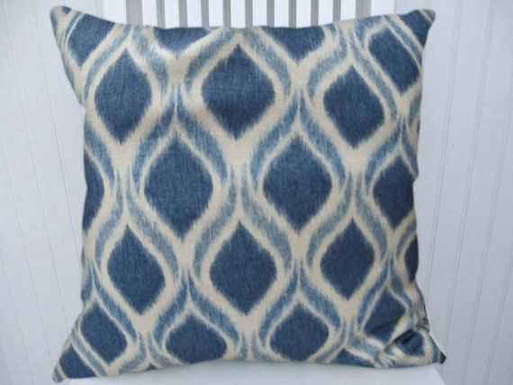 Blue Ikat Pillow Cover 18x18 or 20x20 or 22x22 Accent Throw Pillow-- Decorative Pillow