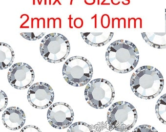 500-2000 PCS Mix 7 Sizes Assorted Clear White Round Faceted Rhinestone Resin  Crystal Mixed Cabochon Gems RA 2mm 3mm 4mm 5mm 6mm 8mm 10mm R