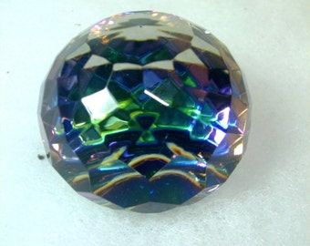 Vitrail Glass Cut Crystal  Mini Faceted Sphere Paperweight
