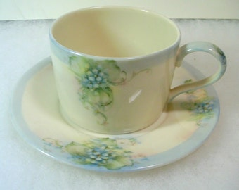 Hand Painted Cup and Saucer - Blue Floral on Cream