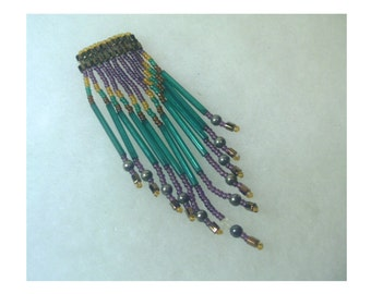 Vintage Beaded Brooch/Pin - Teal Fringe with Purple and Bronze