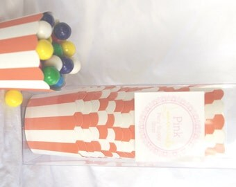 Small Orange Stripe-Boxed-Nut/Candy/Baking Cups-20ct--Parties--cupcakes-gumballs-snacks