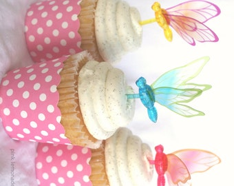 DRaGoNFLY Cupcake Picks--set of 12 plastic toppers--