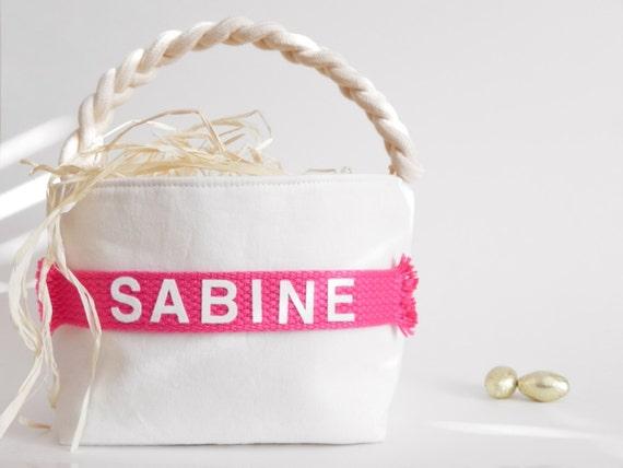 Personalized Easter Basket - Small, Large - Boy Girl - Monogram Name - Egg Hunt, Spring Home Decor, Decoration - 14 Colors (Dark Pink Shown)