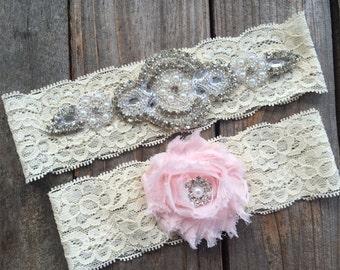 PEARL and RHINESTONE GARTER set / wedding garter / lace garter set / Rustic garter