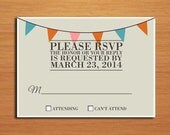Hipster Wedding RSVP Postcard PRINTABLE / DIY