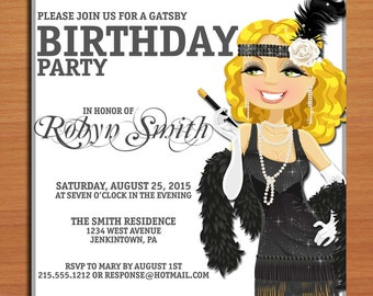 Great Gatsby Silver / Flapper Birthday / Customized Printable Adult Birthday Party Invitation Cards DIY