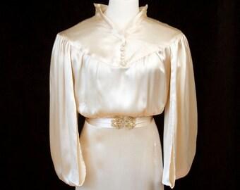 1930s Wedding Dress // Silk Full Length Bridal Wedding Dress with Train Cape Sleeves