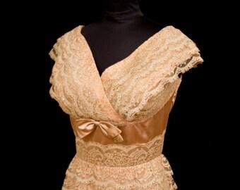1950s Dress // Mocha Lace Wiggle Dress by Jean of California