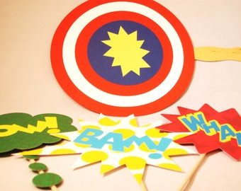 Superhero Photobooth Props Superhero Party Props Four Signs