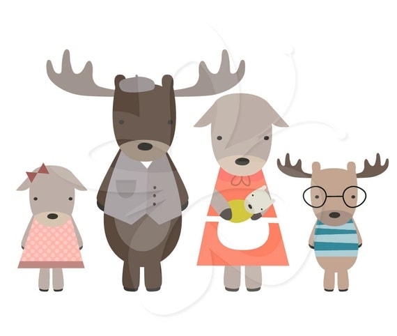 Moose Family Digital Clip Art Clipart Set - Personal and Commercial Use