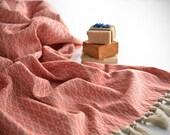 NEW Silk Turkish Towel, Special Pestemal, Fouta, Bath Towel, Beach Towel, Brick Red  / Autumn Collection
