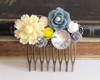 Flower Hair Comb Ivory Yellow Gray Wedding Hair Comb Bridal Hair Accessory Bridesmaid Floral Head Piece Rustic Woodland Vintage Inspired WR