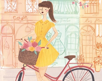 The Lady Cyclist A4 Art Print