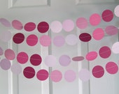 Pink Garland, Paper Garland, Pink Ombre, Birthday Garland, Bridal Shower Garland, Baby Shower Decorations, Elephant Theme Shower