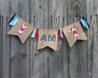 Burlap Banner for High Chair, First Birthday Banner 'I AM 1', custom high chair bunting, you pick colors/theme