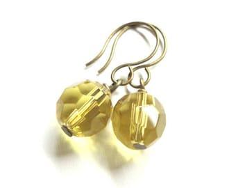 Sale - Yellow Glass Earrings - Short & Sweet