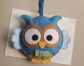 Felt owl ornament, blue owl plushie, personalized gift for baby