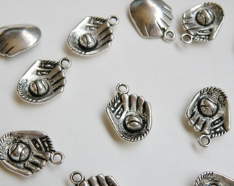 10 Baseball glove with baseball ball sports charms antique silver baseball mitt 21x15mm DB10710