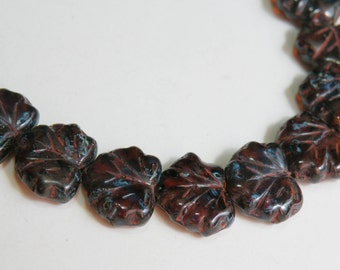 Maple Leaf Dark Amber Picasso finish translucent Czech pressed glass beads autumn fall leaves 10x13mm NML-333