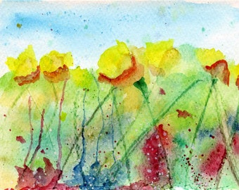 Abstract flowers watercolour painting