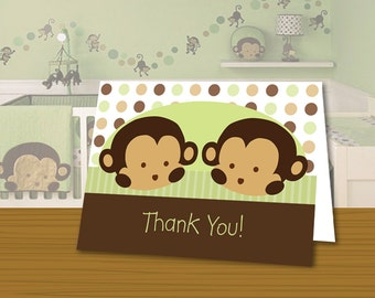 INSTANT DOWNLOAD Mod Pod Pop TWIN Monkey Thank You Printable Cards Digital Files
