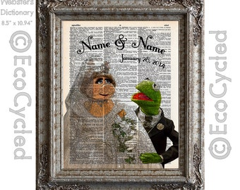 Miss Piggy and Kermit the Frog in Love w/ Name and Date on Vintage Upcycled Dictionary Art Print Book Art Print Anniversary Wedding Muppets