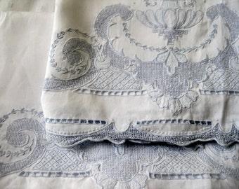 softly shabby antique powder blue embroidered trim ~ rescue me