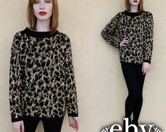 Cheetah Sweater Hipster Sweater Vintage 90s Leopard Sweater S M L Cheetah Jumper 90s Sweater 90s Jumper 90s Knit Metallic Sweater