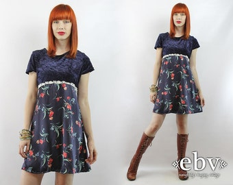 90s summer dress navy