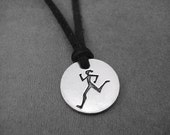 RUNNER GIRL Round Pendant Self Tie Necklace / Bracelet - Pewter Charm on 3 Feet of Self Tie Micro Fiber Suede - Choose Color - Run Bracelet