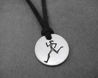 RUNNER GIRL Round Pendant Self Tie Necklace / Bracelet - Pewter Charm on 3 Feet of Self Tie Micro Fiber Suede - Choose Color - Run Bracelet