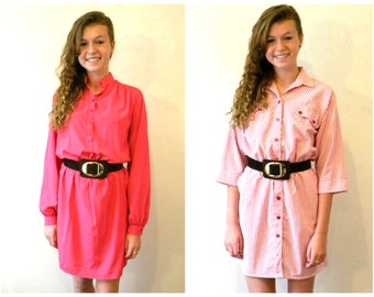 Two Pink Dresses / 1980s Secretary Dresses / Hipster Dresses / Easy Care, Size M