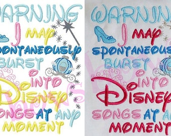 SIng Disney Songs embroidery design digital instant download