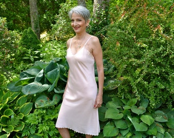 Vintage Rayon Satin Slip Dress Bias Cut Size 34 Small Medium VL231