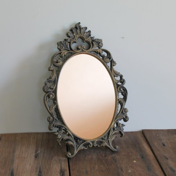 Ornate gold mirror vintage wall vanity table by for Plastic baroque mirror
