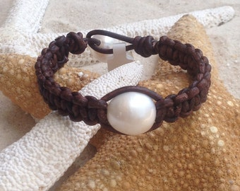 Large single freshwater pearl and woven leather bracelet. FREE shipping to US