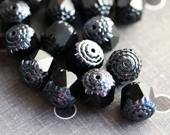 Black Cathedral beads, czech glass, silver ends, fire polished, round - 10mm - 10Pc - 0774