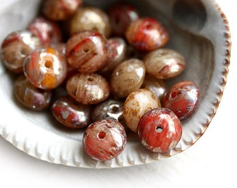 Brown Red beads mix, Picasso czech glass spacers, rondels, rondelle - 4x7mm - 30Pc - 1128