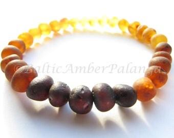Raw Unpolished Rainbow Color Baltic Amber Bracelet