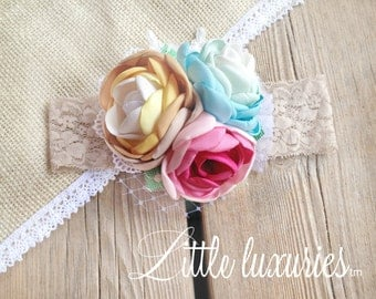 Elise - Robins Egg Blue, Aqua, Cream, Mustard, Pink and Grey. Satin and Lace Flower Headband, Brightly colored peony flowers