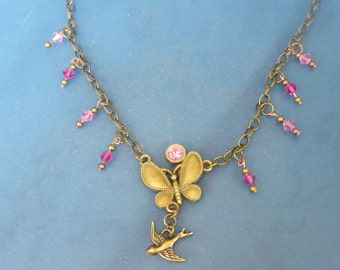 Charm Necklace! Bronze Butterfly, Bird Charm, & Pink Swarovski Crystals, Charm Necklace! OOAK! Birthday Gift, Holiday Gift, Gift for Her