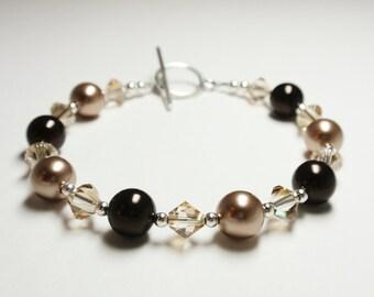 Bronze and Deep Brown Pearls & Golden Shadow Swarovski Crystal Bracelet - Handmade Classic Swarovski Beaded Bracelet.