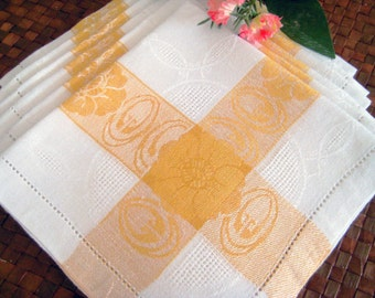 "6 Vintage Linen Napkins, Damask White, Yellow, Flowers, Ornate Mosaic Work, Hem Stitching. 13.5"" x 13"""